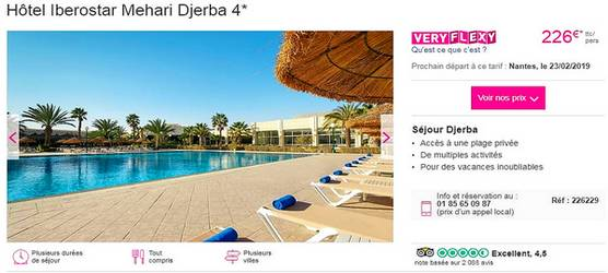 vol + hôtel Iberostar Mehari Djerba avec Lastminute