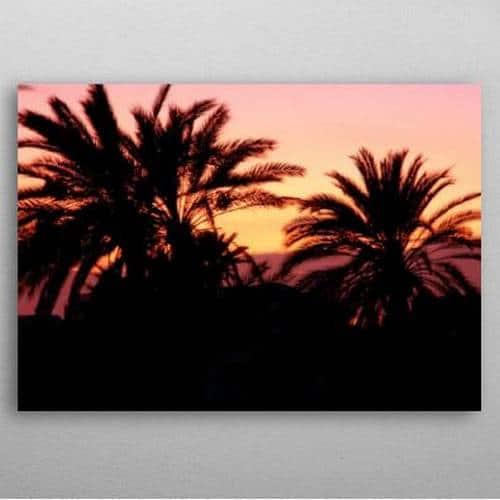 Displate affiche en métal déco Coucher de Soleil Campagne et palmiers de Djerba Tunisie