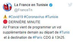 vol paris tunisie covid-19 annulation des vols france tunisie rapatriement communiqué de l'ambassade air france